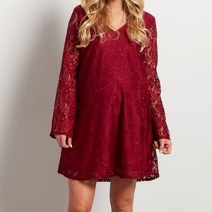 PinkBlush Lace Bell Sleeve Maternity Dress Medium